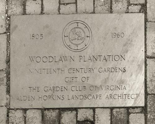 Woodlawn Plantation Garden Club Plaque